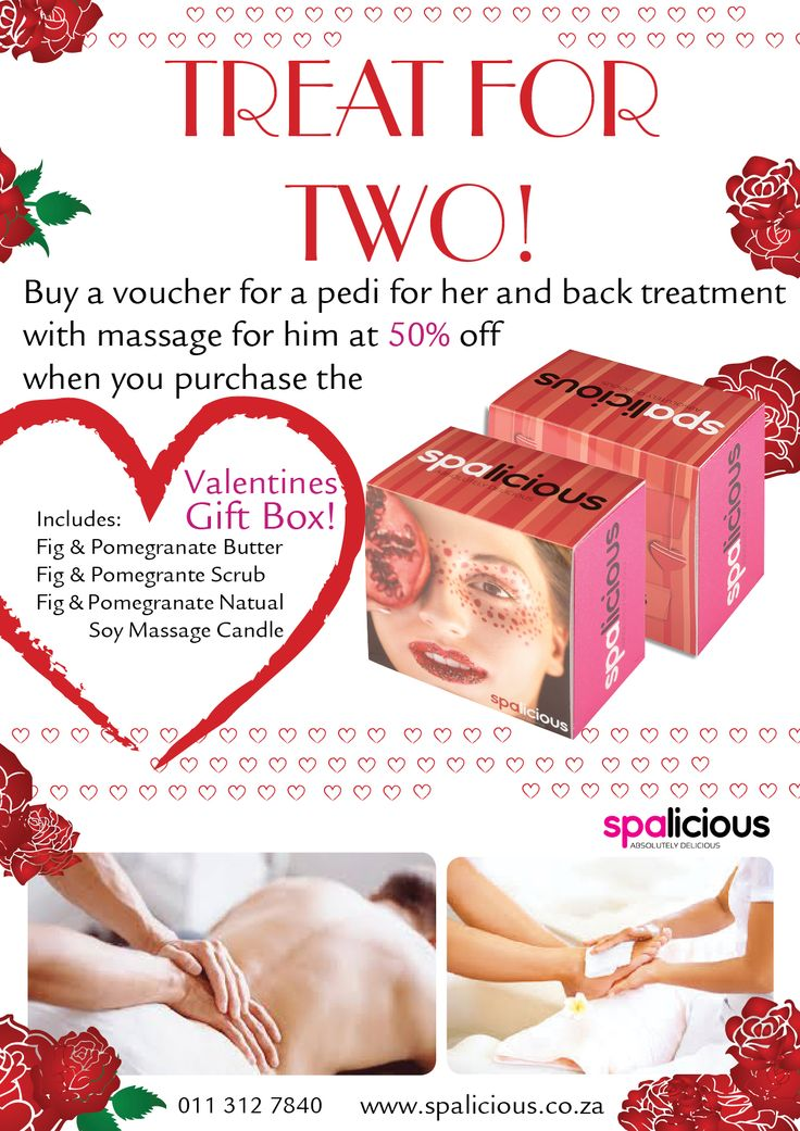 #ValentinesDay.  #spoil the ones you love.  To find out how you can get your hands on these delicious gift boxes and magical treatments contact us on www.spalicious.co.za