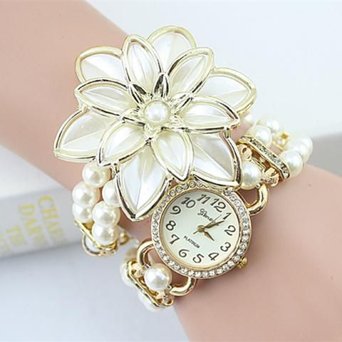 [EBay] 2017 Sale Lady Luxury White Flower Bracelet Watches Women Fashion Pearl Quartz Wristwatches Relogio Feminino Montre Femme