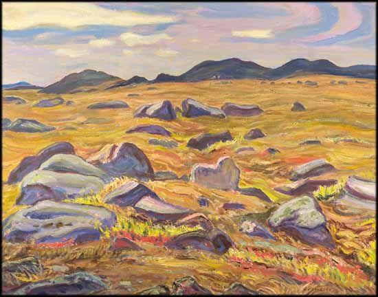 A.Y. Jackson - Barrenlands Near Lake Atnick 25 x 32 Oil on Canvas