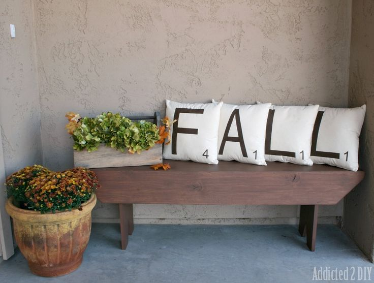 Scrabble Tile Fall Pillows {with a Twist} - Addicted 2 DIY Fun fall pillows that can easily transition into Christmas with a fun twist.