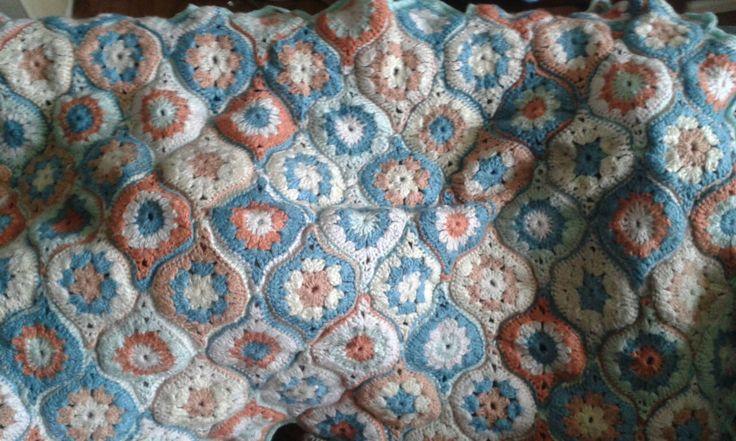 Moorish tile style crochet lap blanket.