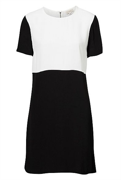 "The Witchery ""Colour Block Shift Dress"" is a wardrobe staple. You can be a repeat offender and wear this number with a statement necklace, bold lip and a strappy heel or a black sandal and oversized fedora for coffee with friends. #witcherywishlist"