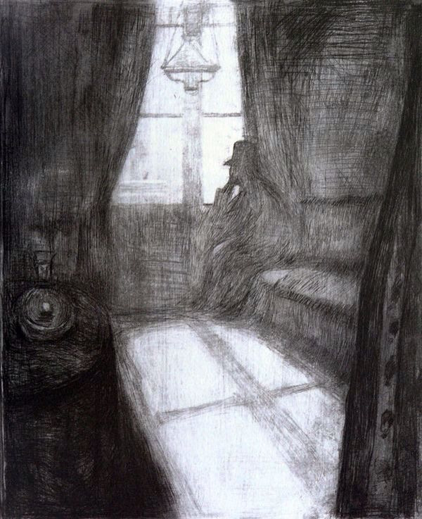 Boredom  or comfort is what this art piece looks like. It looks this way because of the hand on chin for boredom and the comfort be cause I've always found the dark comfortable. from Edvard Munch