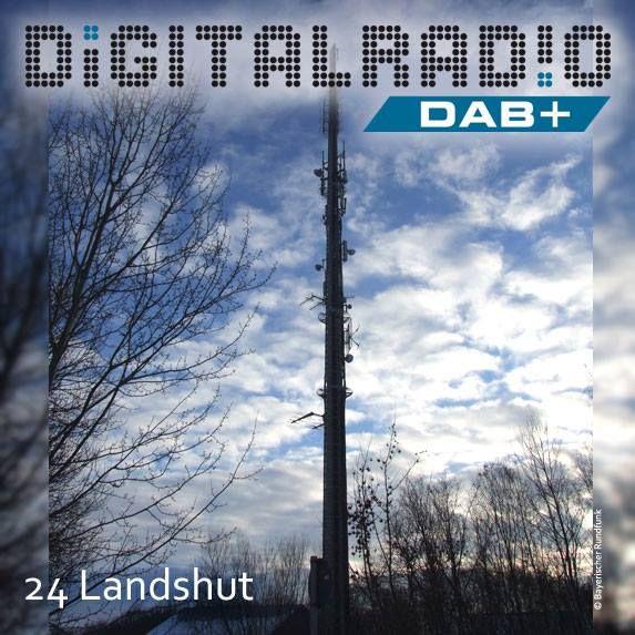 (24) Landshut/Niederbayern * Senderanlage liegt direkt an der Autobahn A92 bei Landshut * die erste Ausstrahlung von DAB-Programmen an diesem BR-Standort erfolgte bereits 1995 im Rahmen des bayerischen Pilotprojekts * auch das BR-Bouquet (Kanal 11D) wird von hier abgestrahlt *