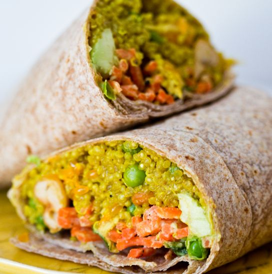 Curried quinoa & avocado wrap - YUM!  This would also be delicious with some chicken added and on a brown rice tortilla!