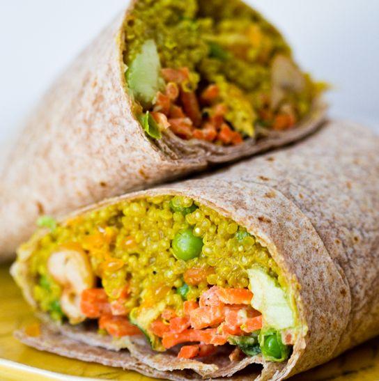 Spicy curried quinoa wrap with tahini-avocado-citrus Slaw