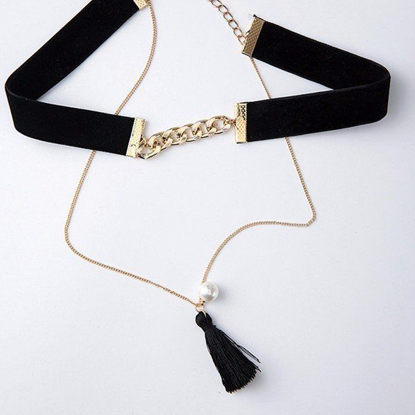 Bohemian Multilayer Necklace Black Tassel Flannel Pearl Collar Necklace