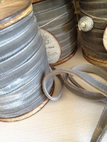 Rustic Wooden Spool of Vintage Pewter Color Velvet Ribbon 20 Yards Beautiful   eBay