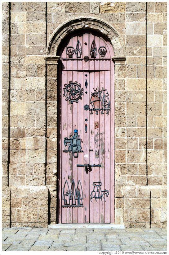 Door, clock tower, Old Jaffa.Israel