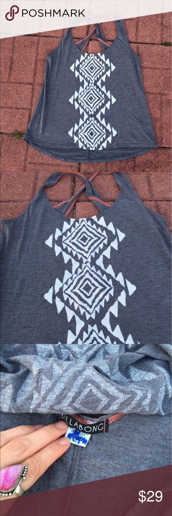 Billabong Aztec Gray Gypsy Festival TankTop cami (❁´◡`❁) ωḙℓḉ✺Պḙ (❁´◡`❁)   Description:   •Super soft gray light weight fabric  •White Aztec graphic on front  •CrissCross back    ❤️   Brand: Billabong    Size: XS    Condition: Excellent preowned shape. Worn once.    (please refer to all photos Don't hesitate to ask ANY and ALL question before Bidding/Buying)   Ask about combined shipping and discounts! Billabong Tops Tank Tops