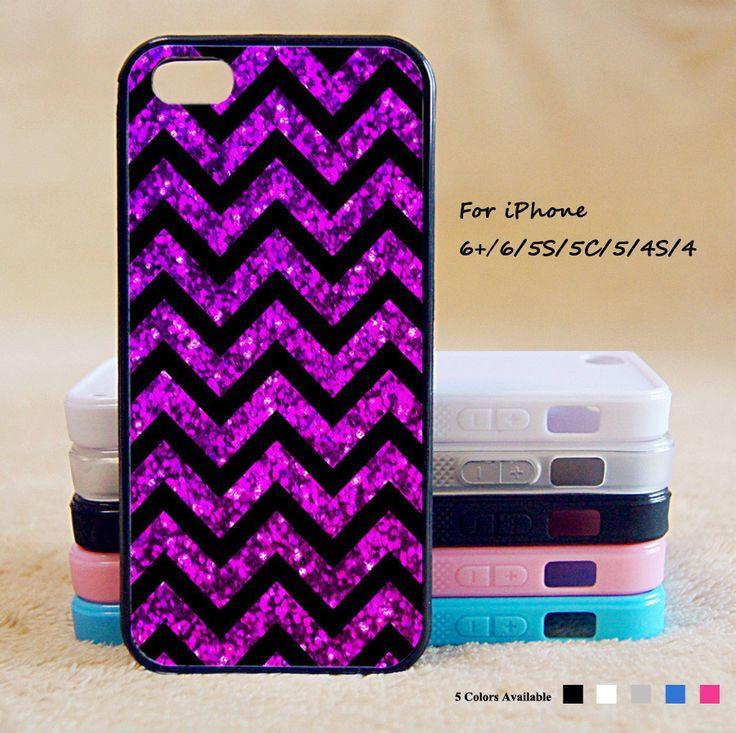 Purple Blur Sparkle Chevron Phone Case For iPhone 6 Plus For iPhone 6 For iPhone 5/5S For iPhone 4/4S For iPhone 5C-5 Colors Available