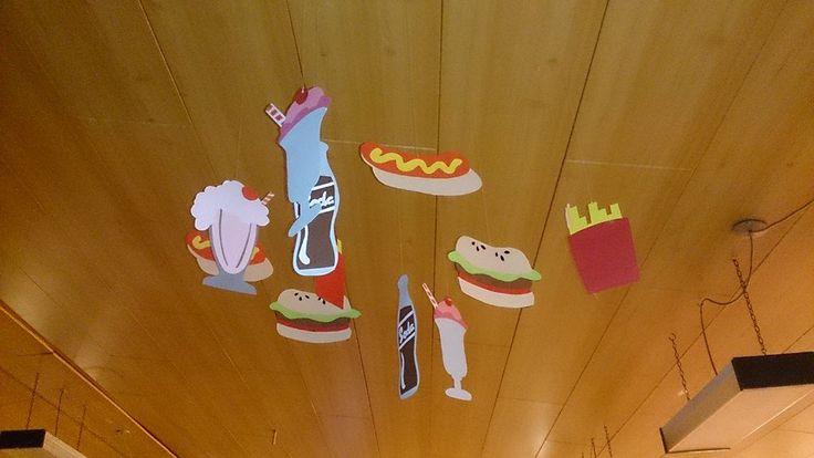 Sundaes, sodas, hamburgers, hot dogs, french fries and milk shakes