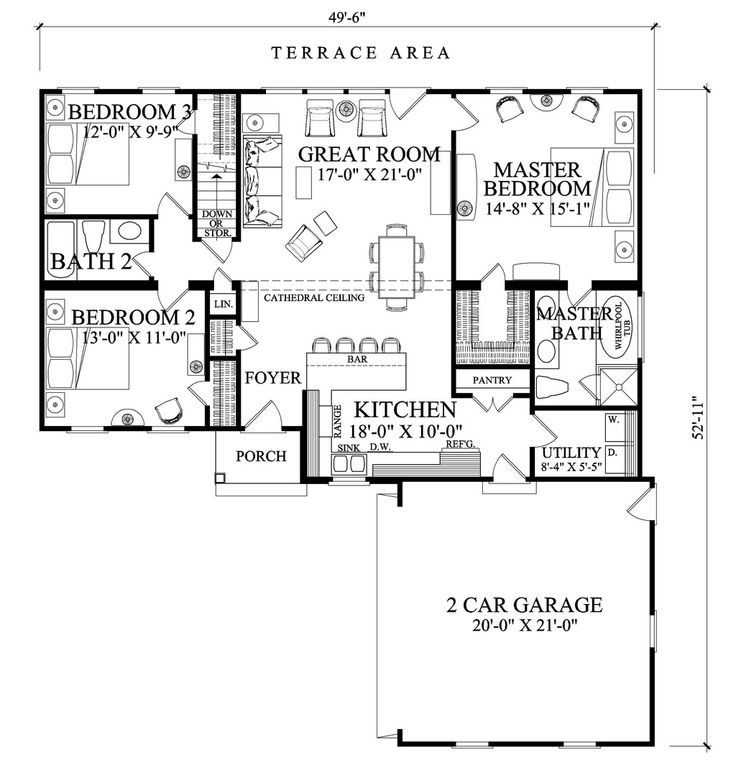 ranch style house plan 3 beds 200 baths 1445 sqft plan 137 269 - 4 Bedroom House Plans One Story For 2 Acres