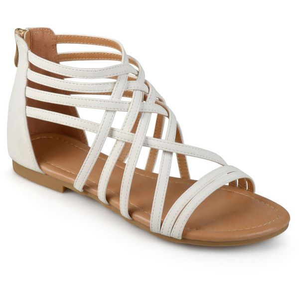 Journee Collection Hanni Women's Sandals ($55) ❤ liked on Polyvore featuring shoes, sandals, white, synthetic shoes, white strappy sandals, white shoes, journee collection shoes and white open toe shoes