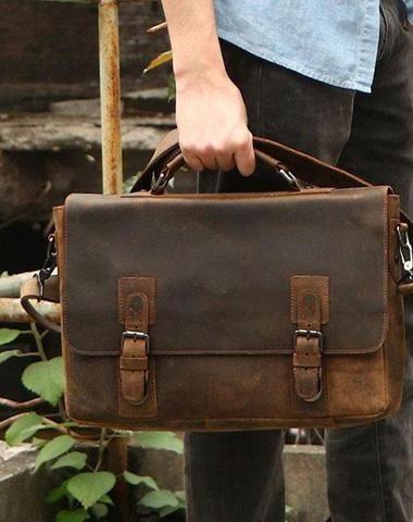 2266d2f46 Vintage Coffee Leather Mens Briefcase Work Bag Laptop Bag Business Bag for  Men