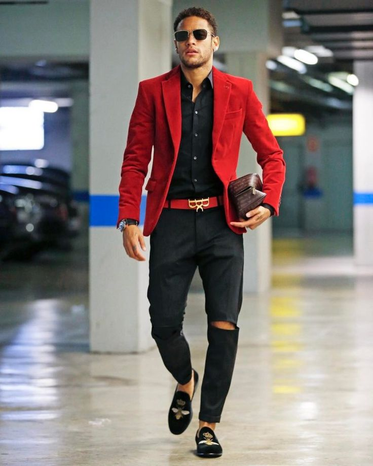 Neymar Jr Slays In Red Blazer, Dolce & Gabbana Loafers And Royaums Belt