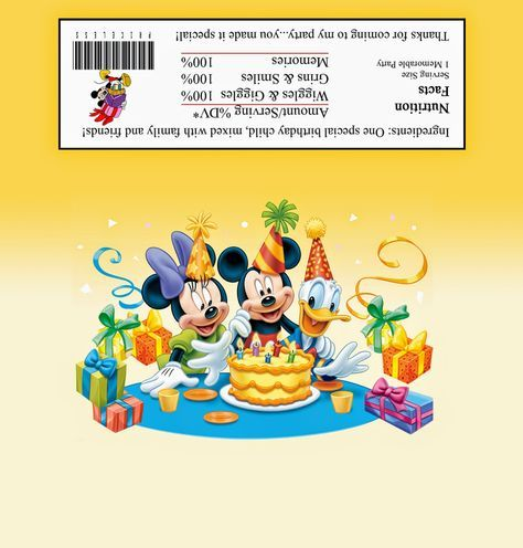 Mickey, Minnie and Donald: Free Printable Chocolate Wrapper.
