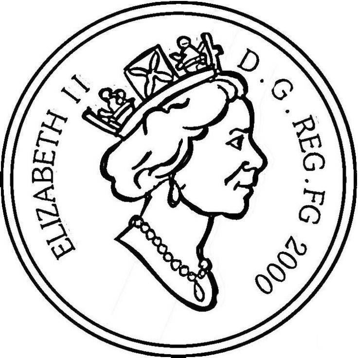 Queen-Elizabeth-II-coin-coloring-page   Coloring pages ...
