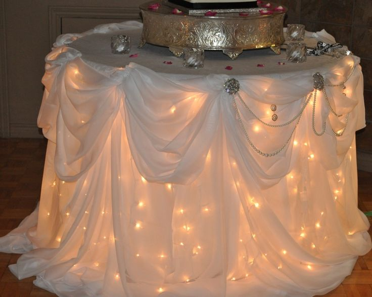 Lights under table. I really like this!: Receptions Tables, Food Tables, Christmas Lights, Gifts Tables, Sweetheart Tables, Parties Tables, Tables Linens, Head Tables, Wedding Cakes Tables