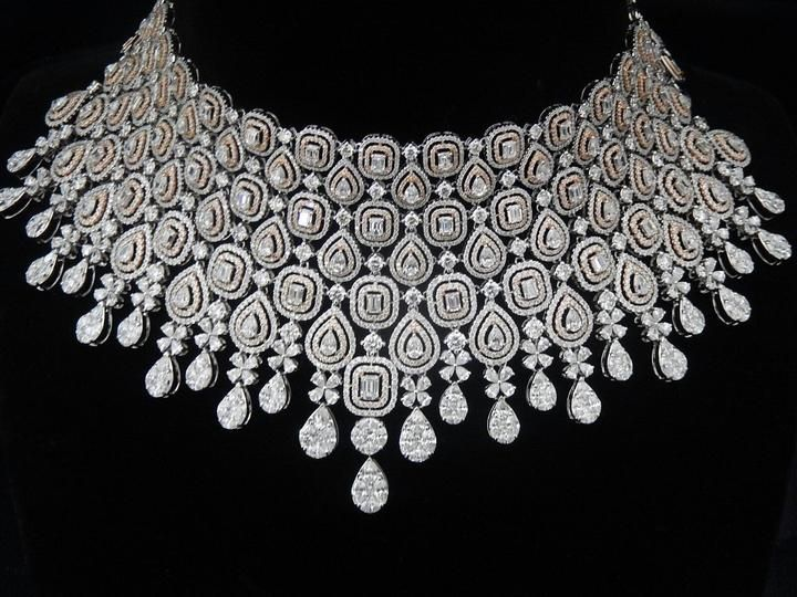 Square Shape Diamond Necklace by Ansh Gems | Jivaana.com