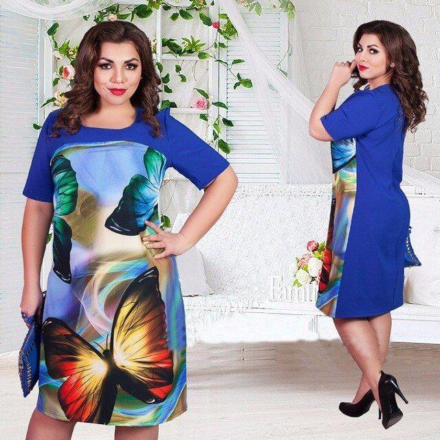 Big size 6xl 2019 summer dress woman fashion butterfly printing dresses casual plus size women clothing 6xl fat mm dress
