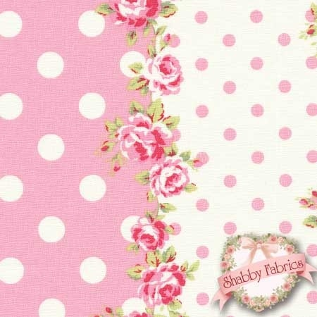 This fabric features stripes of rose clusters and pink and white polka dots.