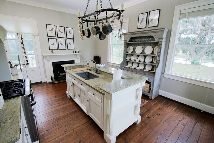"""A quaint airy kitchen in the Ravenel plantation.""------ from Bravotv.com, kitchen of Southern Charm cast member,Thomas Ravenel."