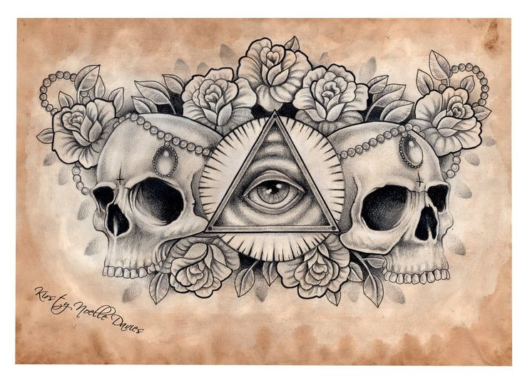 Illuminati and Skull chest tattoo design (scanned) by ~kirstynoelledavies on deviantART