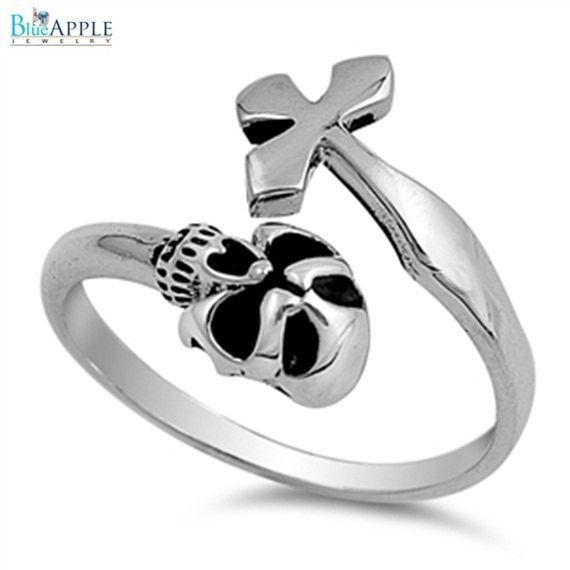 Skull & Cross Gothic Band Ring Solid 925 Sterling Silver Plain Simple 15 mm Gothic Ring Size 4-16