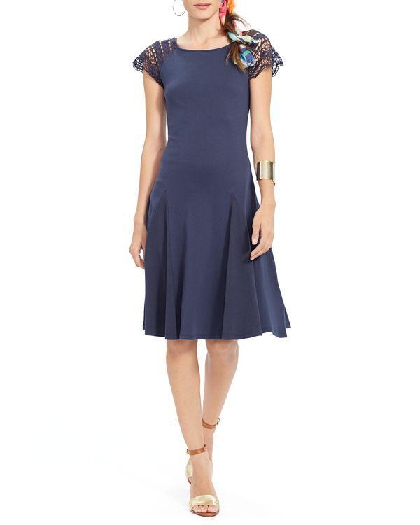 Lauren Ralph Lauren Crochet Sleeve Dress