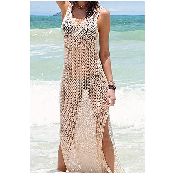 Yoins Beige Beach Hollow Out Sleeveless Maxi Cover-up ($17) ❤ liked on Polyvore featuring swimwear, cover-ups, beige, dresses, crochet beach cover up, sheer bikini, bikini cover ups, transparent bikini and see through bikini