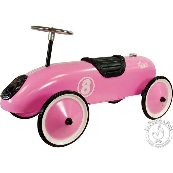 Voiture porteur métal rose - véhicule pour enfant - LaPouleAPois.fr
