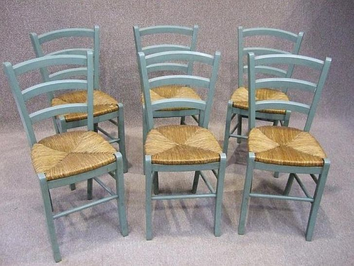 A Set Of Turquoise French Country Chairs For Dining Table