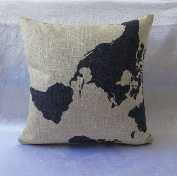 cotton linen pillow world map decorative pillow cover / home decor Cushion cover brown Home ...