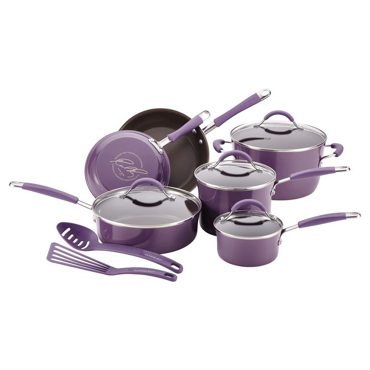 Add style and efficiency to the kitchen, with the Rachael Ray Cucina Hard Enamel Nonstick 12-Piece Cookware Set that features saucepans, skillets, and more for creating delicious, memorable meals. Created by Rach for warmth and practicality, the modern rustic design of the cookware adds an inviting touch to every delicious meal and dining occasion. Crafted with sturdy hard enamel porcelain exteriors and durable aluminum construction that promotes fast, even heating, these stylish pots and…