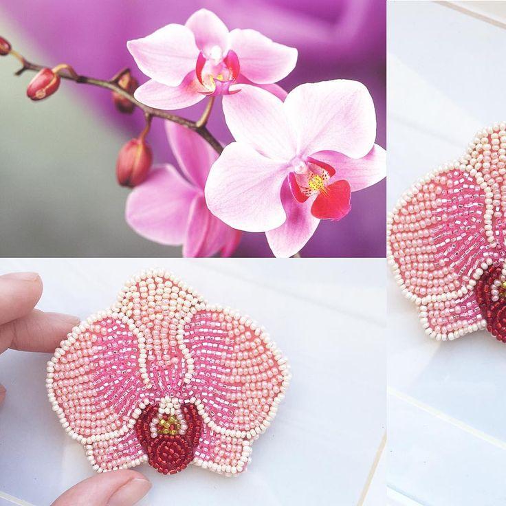 Доброе утро!Орхидея на заказ #брошь #брошьизбисера #орхидея #украшение