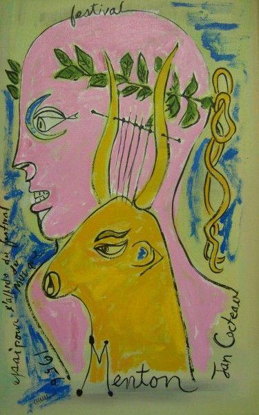 Festival du Musique poster by Jean Cocteau - Cocteau symbolizes the music festival with two of Apollo's symbols - the lyre and the laurel crown.