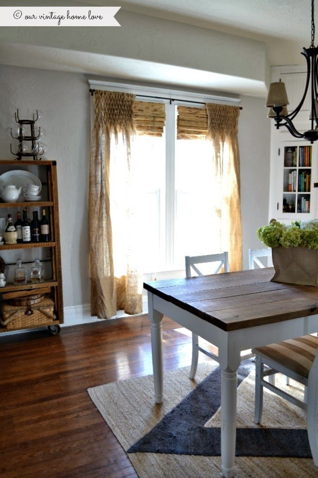 Our Vintage Home Love White Farmhouse Table Smocked Curtains