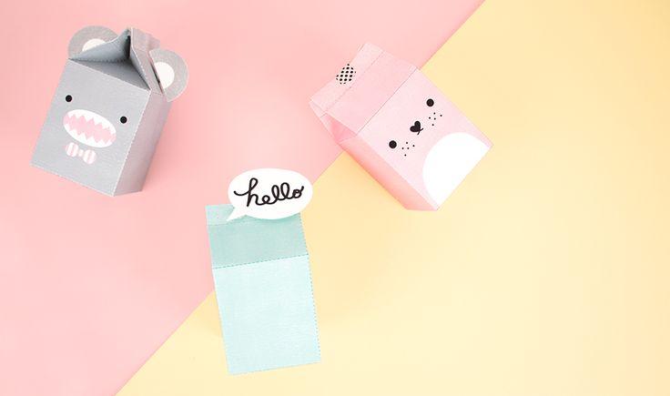 Une brique de lait en papier sur le thème des monstres mignons de noodoll. Ce printable est à télécharger gratuitement et à réaliser soi-même sur une feuille de papier. Parfait pour transporter des bonbons et des petits jouets.