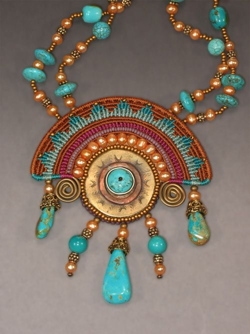 """Aztec Sun"" Necklace by Joan Babcock"