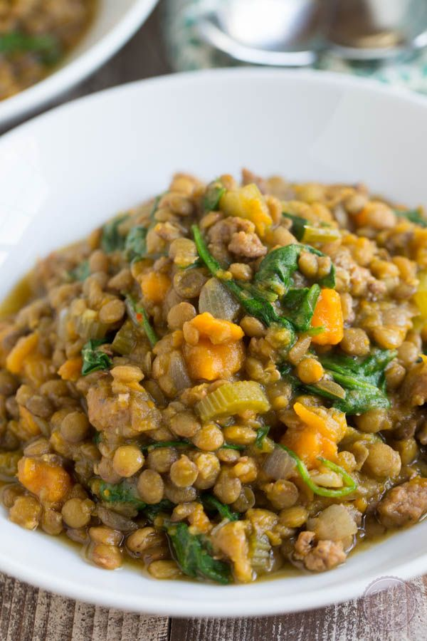 Slow Cooker Lentil and Spicy Sausage Stew