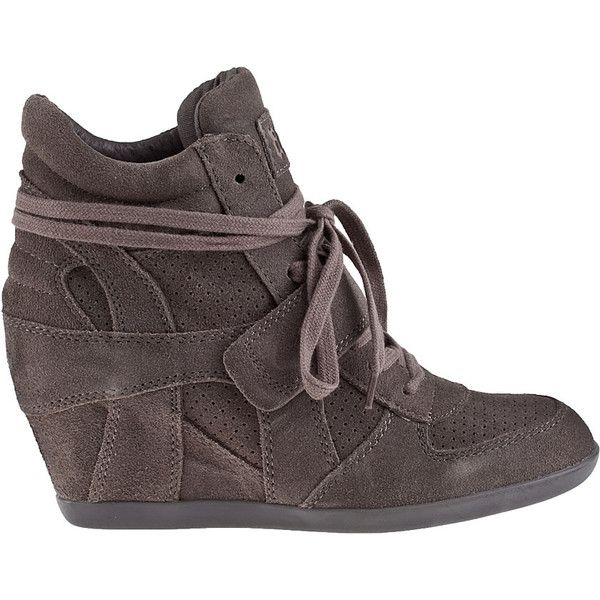 ASH Bowie Wedge Sneaker Slate Suede ($165) ❤ liked on Polyvore featuring shoes, sneakers, slate suede, wedge sneakers, hidden wedge sneakers, wedged sneakers, suede wedge sneakers and lace up wedge sneakers