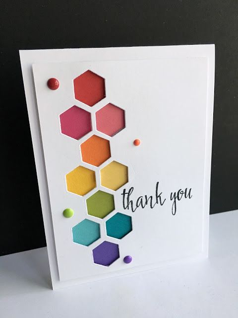 Im In Haven Hexagons In Rainbows Fun Playful Thank You Card