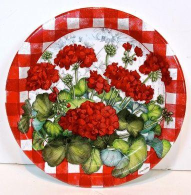Jo-ann's Spring Inspirations Geranium Paper Plates,8x,red Geraniums,red Gingham,22cm d