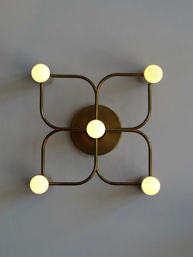 Brass Five Light Wall Lamp by Leola