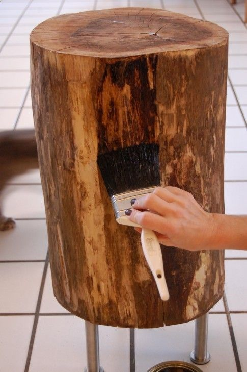 Preserving A Stump Tree Stump Table Stump Table Diy Tree