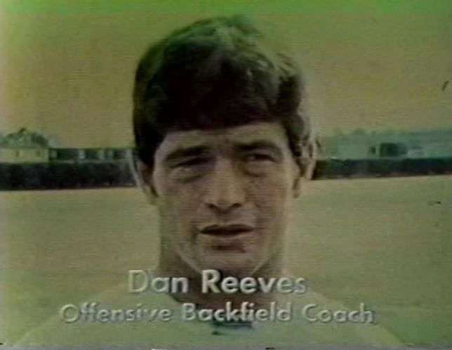 """Offensive backfield coach DAN REEVES interviewed on """"Countdown To Super Bowl"""" SB VI pre-game show--January 16, 1972. In the 1971 season Dan was a player-coach, in which he did double-duty as both a player on the gridiron and assisting his fellow offensive players on the sidelines."""
