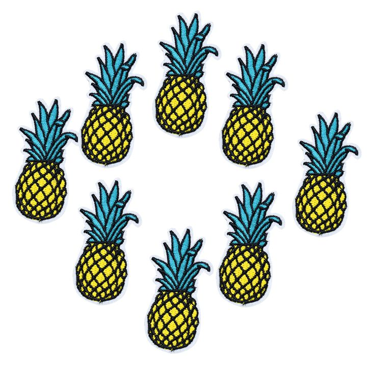 DIY Brand 10PCs Cartoon Pineapple Patches Iron On Patches For Clothes Stickers Cheap Embroidered Patches Applique Clothe Badges