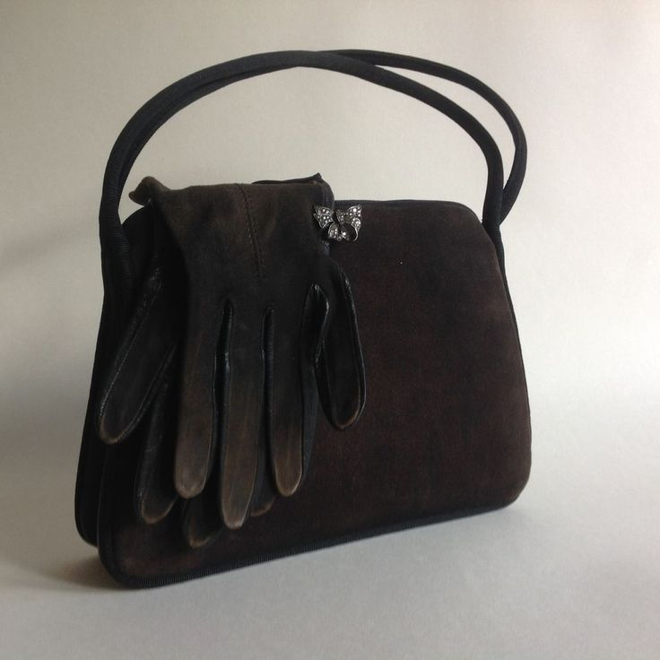 Waldybag Marcasite Butterfly Clasp 1950s Suedette Vintage Handbag Suede Gloves  | eBay