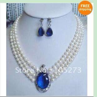 Жемчуг ожерелье серьги ювелирные изделия комплект 3 ряда AA белый жемчуг и сапфир кулон женщины девочка в ювелирные изделия NF26